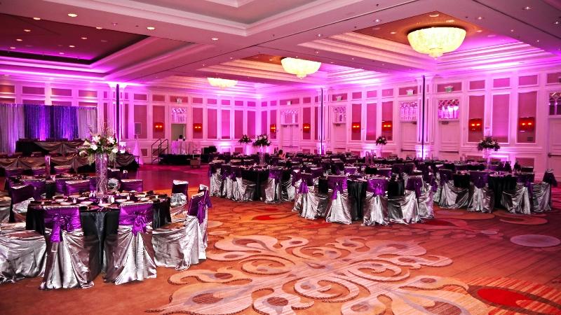 Purple Wedding Uplighting at the Sugarland Marriott by Elegante