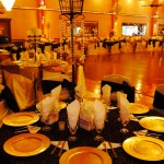 Herreras Reception Hall  Amber LED Lighting Center Piece by Dance Floor