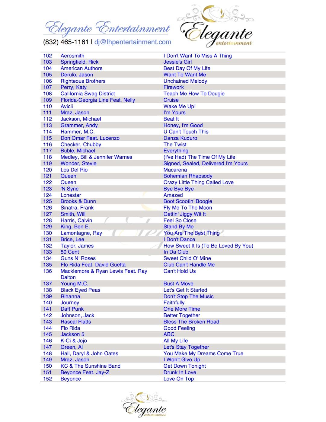DJ in Houston EE 2015 Top 200 Songs3 | Elegante Blog